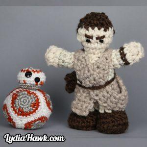 Jumbo Rey Mini BB-8 Crochet Dolls Lydia Hawk Designs Asheville NC