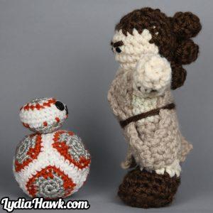 Jumbo Rey Mini BB-8 Crochet Dolls Lydia Hawk Designs Asheville WNC