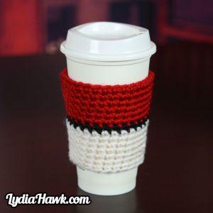 Pokeball Coffee Cup Cosy Crochet Asheville WNC