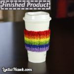 Knit Rainbow Coffee Sleeve Lydia Hawk Designs Asheville NC