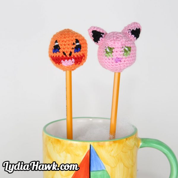 Pokemon Crochet Charmander Jigglypuff Pencil Toppers Lydia Hawk Designs Asheville NC