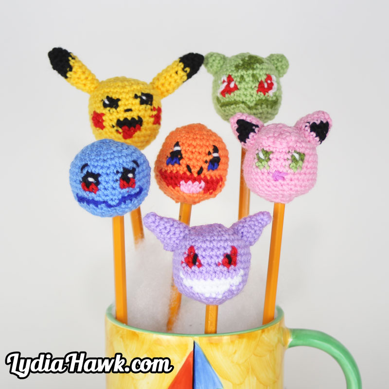 Pokemon Crochet Pencil Toppers Lydia Hawk Designs Asheville NC