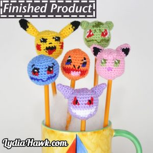 Pokemon Crochet Pencil Toppers Lydia Hawk Designs Asheville WNC
