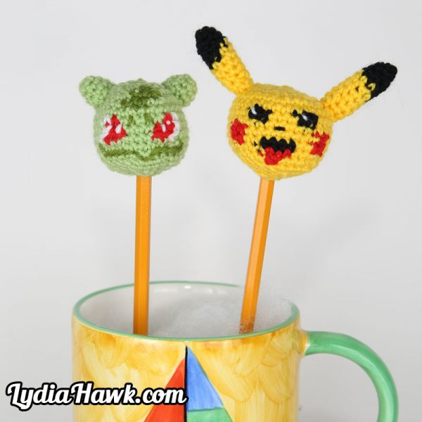 Pokemon Crochet Pikachu Bulbasaur Pencil Toppers Lydia Hawk Designs Asheville NC