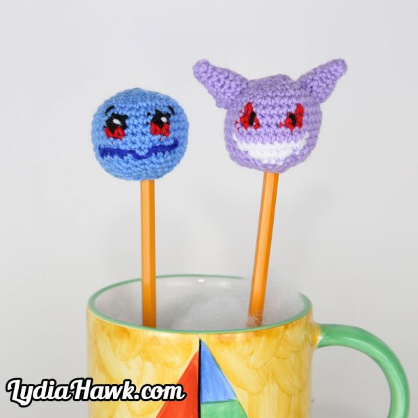 Pokemon Crochet Squirtle Gengar Pencil Toppers Lydia Hawk Designs Asheville NC