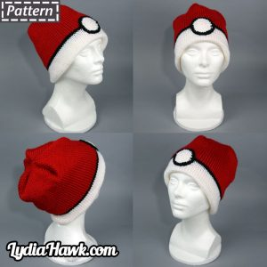 Crochet Pokeball Beanie Lydia Hawk Designs Appalachian Mnts WNC