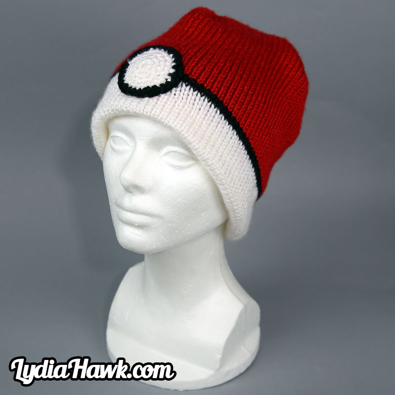 Crochet Pokeball Beanie Lydia Hawk Designs Appalachian Mountains WNC