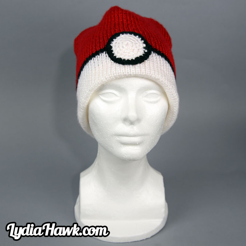 Crochet Pokeball Beanie Lydia Hawk Designs Asheville NC