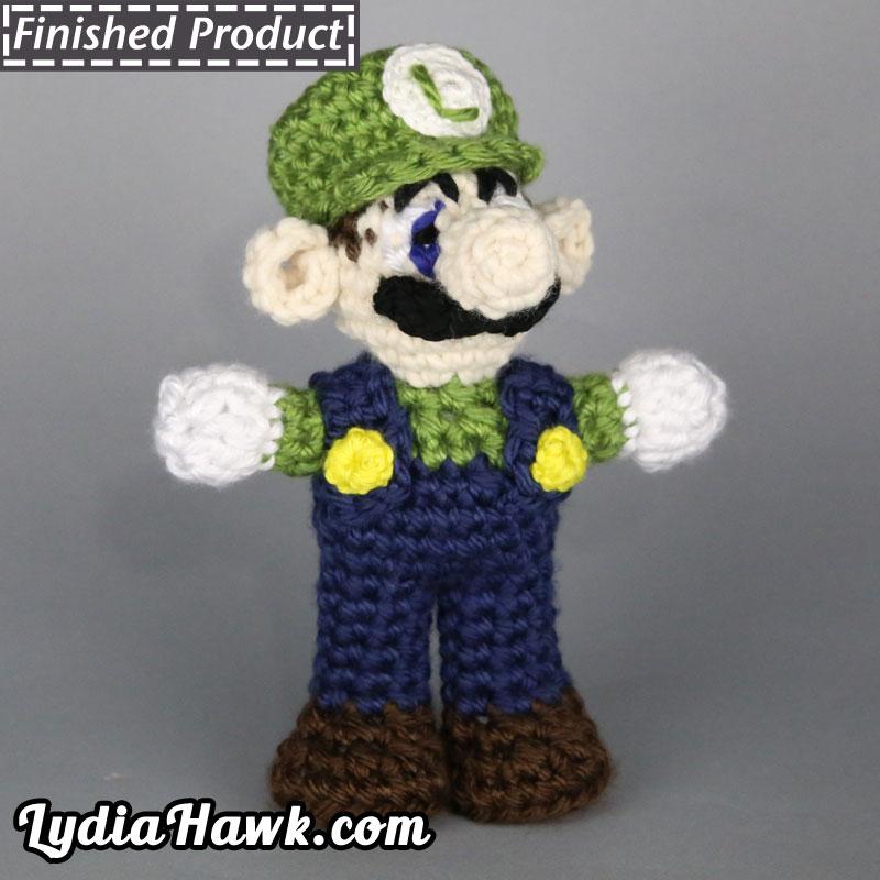 Jumbo Crochet Luigi Mario Bros Doll Lydia Hawk Designs